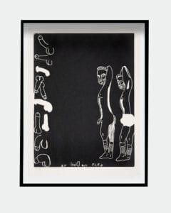 Tal R woodcut print Tennis sokker Glyptoteket